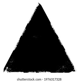 Watercolor black triangle on the white background. Vector