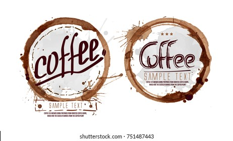 Watercolor blots coffee labels set. Coffee Menu Letters. Vector illustration. Grunge brown, black circle set. Retro Vintage coffee labels
