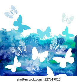 Watercolor blue background with butterflies. Vector