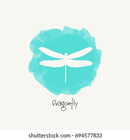 Watercolor blue background with silhouette dragonfly. Dragonfly Logo Design Template