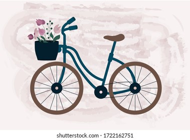 Watercolor blue bicycle with a flower basket in front. Vector Illustration