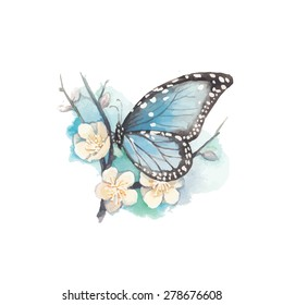 Watercolor blue butterfly on blossom plum tree branch. Vector artistic illustration with flowers and butterfly.