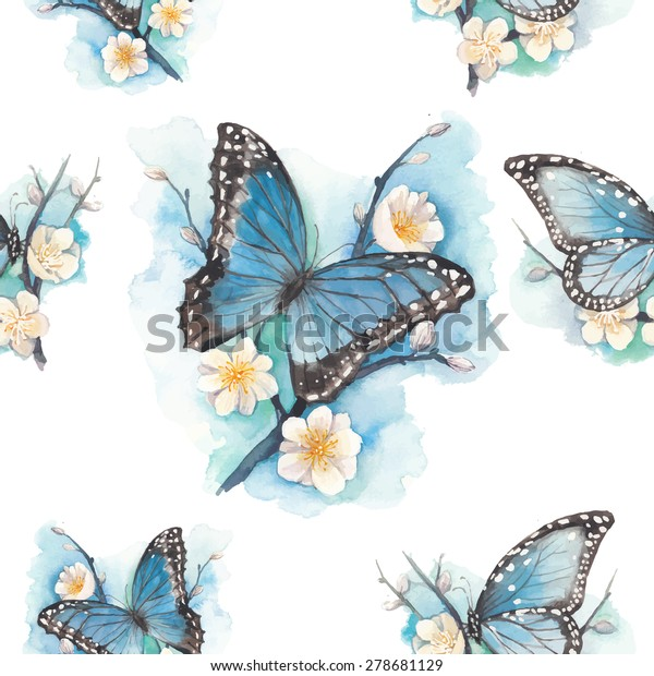 Watercolor blue butterfly on blossom plum tree branch pattern. Vector seamless texture with artistic illustration with flowers and butterfly.