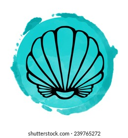 Watercolor blue circle paint stain and black sea shell icon closeup isolated on a white background, art logo design