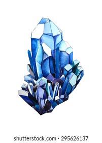 Watercolor blue crystal