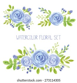 Watercolor blue  flowers,green branches,leaves bouquet set. Hand painted berries,floral,petal ,roses  decor elements.For design template,invitation.Holiday Vector,wedding card