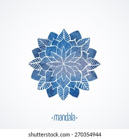 Watercolor blue mandala. Geometric round decorative element for design. Lace flower pattern isolated on white background. Logo template. Vector illustration in oriental, indian style