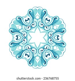 watercolor blue pattern, isolated on white background