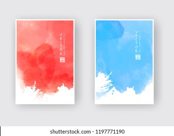 Watercolor blue and red color design banner set. Vector illustration