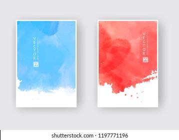 Watercolor blue and red color design banner set. Vector illustration