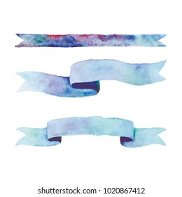 Watercolor blue ribbons #6 vector clip art hand painted aquarell aqua color banners