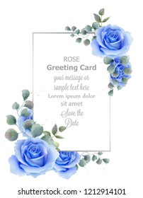 Watercolor blue rose flower card Vector. Vintage greeting, wedding invitation, thank you note. Summer floral decor. flower wreath frames bouquets