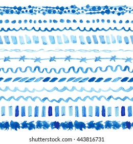 Watercolor blue seamless pattern,line borders,hand painting background.Vector blue wavy brushes,cyan color.Water artistic texture.Bright design template.Summer Holiday,vacation line background.