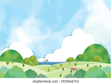 Watercolor blue sky and mountain and hill landscape
