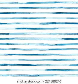 Watercolor blue stripes. Seamless pattern. Vector illustration