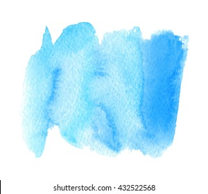 Watercolor blue stroke hand drawn paper grain texture isolated stain on white background. Abstract water color wet brush paint smudges vector element for banner, card, template, design