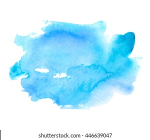 Watercolor blue stylized hand drawn paper texture isolated stain on white background for design, template. Abstract water color wet brush paint splash blot vector element