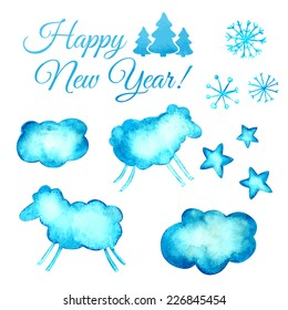 Watercolor blue vector background. Christmas set.