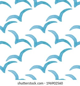 Watercolor blue vector pattern with seagulls. Gull seamless pattern. Birds background