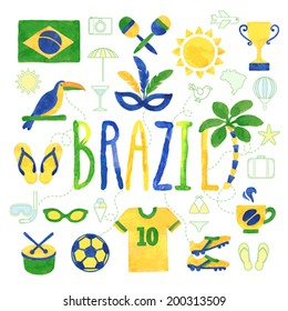 Watercolor Brazil icons - vector