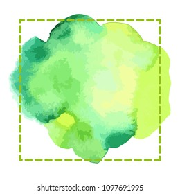 Watercolor bright green hand draw vector frame for graphic design. Crazy doodle frame