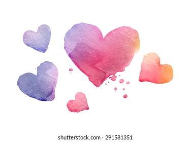 Watercolor bright heart-shaped blotches. Vector illustration
