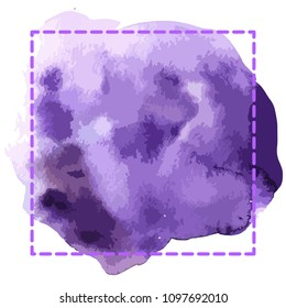 Watercolor bright violett hand draw vector frame for graphic design. Crazy doodle frame