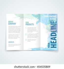 watercolor brochure template promotion vector design template of tri crease booklet with multicolor watercolor scene beneficial for any project where a platter of colour makes the difference watercolo