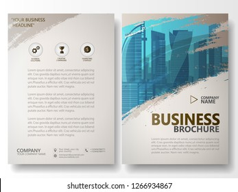 Watercolor brush stroke annual report brochure flyer template, vintage city vector wallpaper design, business advertisement, magazine book cover layout in A4 resolution