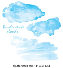watercolor brush stroke on paper.vector ink spot.hand drawn illustration.Sky background Clouds painted with watercolor.