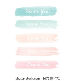 Watercolor brush strokes with the words thank you. Vector illustration.