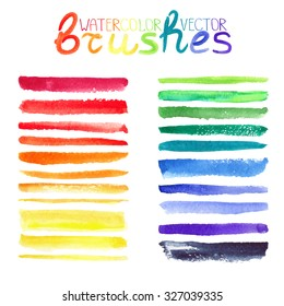 Watercolor brush strokes,texture,line border.Colorful vector.Hand drawing artistic paint art. Bright design template.Rainbow colors, summer decor elements.Add-ons