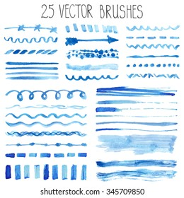Watercolor brushes,hand painting texture,line brushstroke,border set. Light blue,cyan color.Design template.Watercolor brushes,Blur vector,summer background.Holiday,artistic decor,sea  water,wave,sky