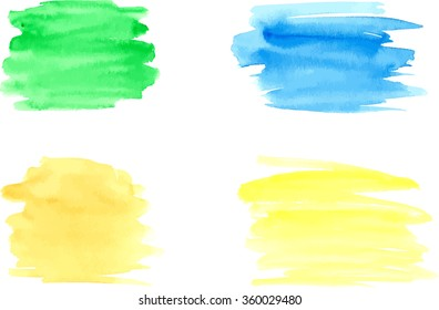 Watercolor brushstrokes for design. Vector illustration