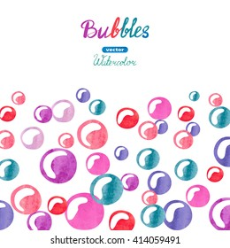 Watercolor bubbles background. Colorful bubbles isolated on white. Vector illustration.