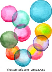Watercolor bubbles. Handpainted illustration, vector. Watercolor colorful soap bubbles.