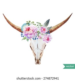 watercolor bull's head with flowers roses and feathers in the style of bo-ho