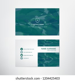 Watercolor Business Card TemplateDark Green Pastel Stylecontact And Company Design