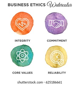 Watercolor Business Ethics Outline Icon Set