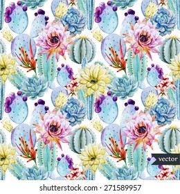 watercolor, cactus, pattern, flowers, prickly,