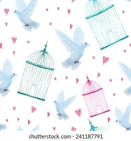 Watercolor cage and dove pattern. Seamless vintage texture with hearts. Isolated hand drawn objects in vector background.