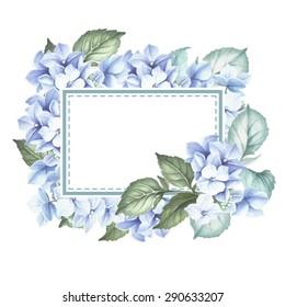 Watercolor Card with hydrangea.Vector Illustration