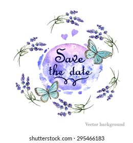 Watercolor card with lavender and butterflies.  Hand painting. Illustration for greeting cards, invitations, and other printing projects.