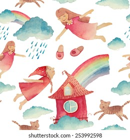 Watercolor cartoon pattern with girls flying. Hand painted girly seamless texture: clouds, cats, sleeping girls and sky. White vector background