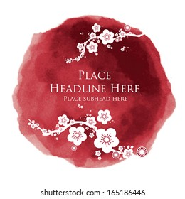 watercolor cherry blossom template