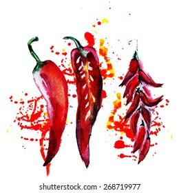 watercolor chili pepper