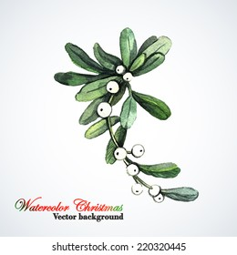 Watercolor Christmas Mistletoe. Hand painting. Watercolor. Illustration for greeting cards, invitations, and other printing projects.