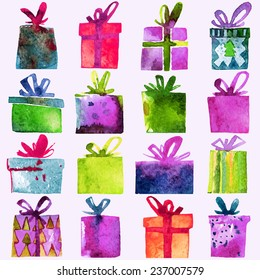 Watercolor Christmas set with gift boxes,  isolated on white background. Watercolor art. Vector illustration. Christmas decoration elements.