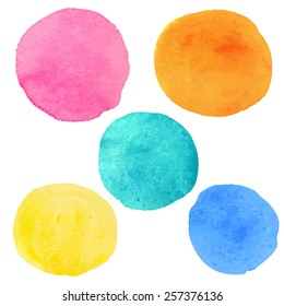 Watercolor circle paint stain set isolated on a white background. Hand painting on paper. Art design elements