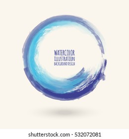 Watercolor circle texture. Ink round stroke on white background. Simple style. Vector illustration of grunge circle stains.